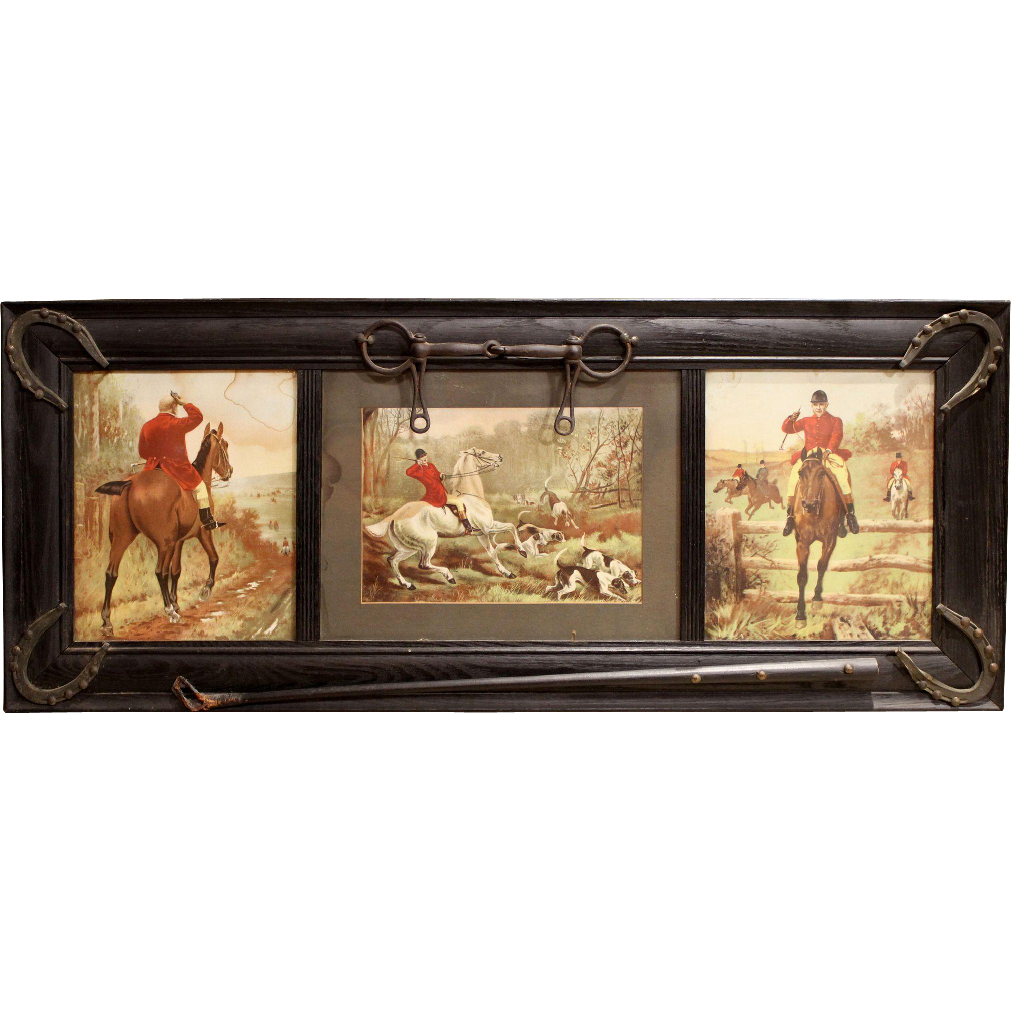 Set of Three Fox Hunt Prints in Horse / Equestrian Theme Frame