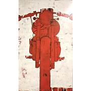 Christopher Myott Modernist Motorcycle Oil Painting - Motorcycle 2
