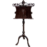 Exceptional Carved Art Nouveau Music Stand with Lyre and Flower Motif