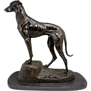 Jules-Edmond Masson Cast Bronze of a Greyhound or Lurcher Dog