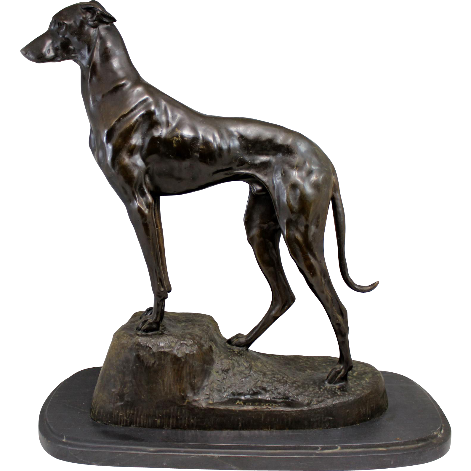 Jules-Edmond Masson Cast Bronze of a Greyhound or Lurcher Dog