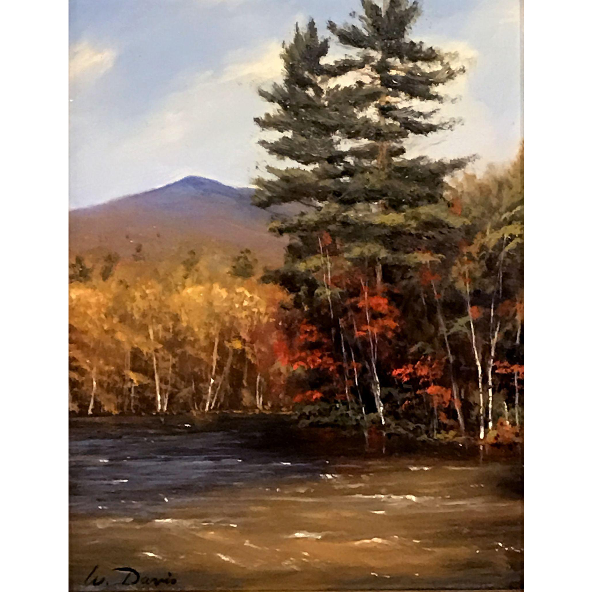 William R. Davis Oil Painting - High Water, Swift River, Kancamagus Highway, NH