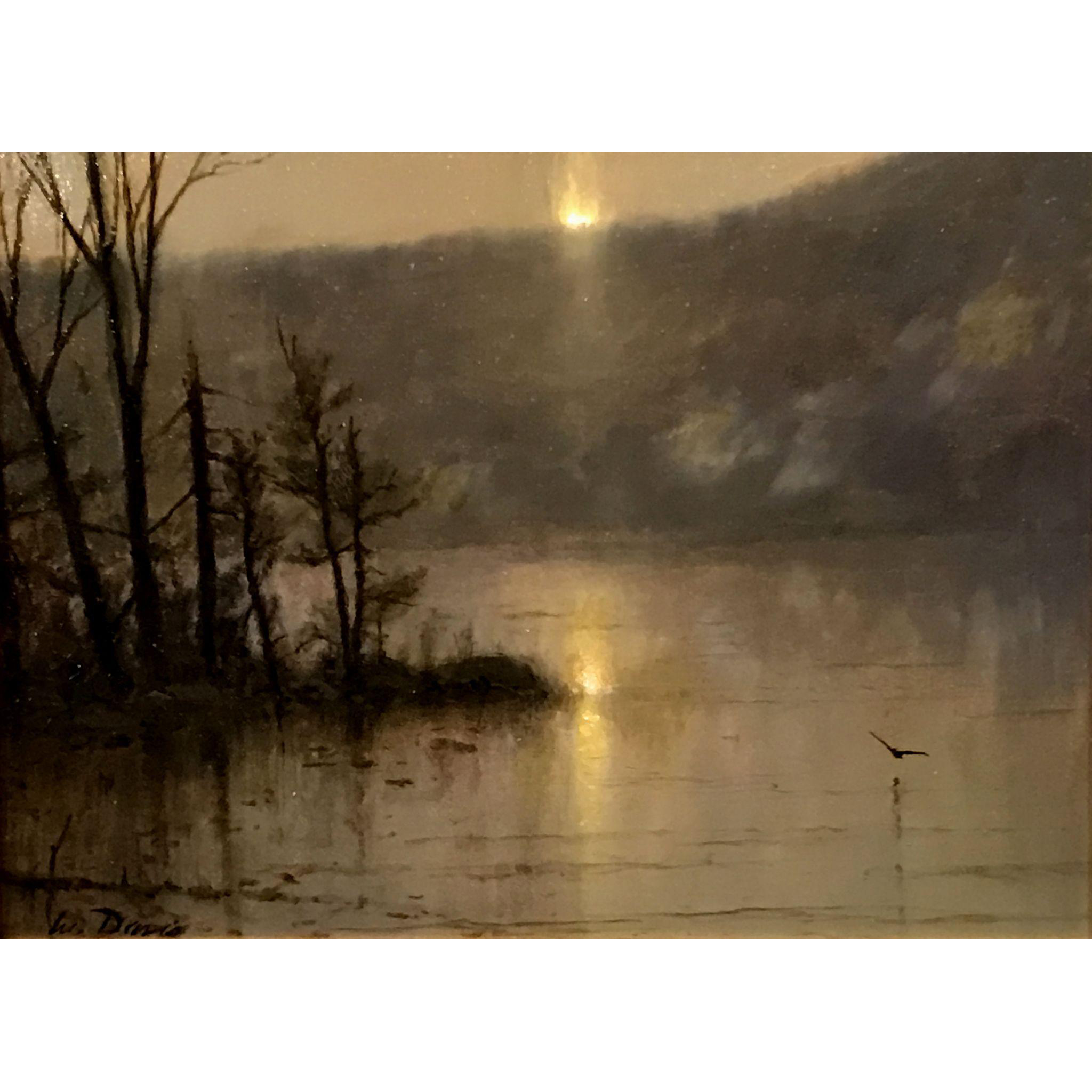 William R. Davis Landscape Oil Painting - Lake Reflection