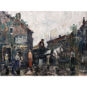 Anthony Thieme Impressionist Oil Painting of Dock Square, Rockport, MA