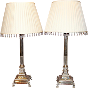 Pair of Edwardian Sheffield Corinthian Column Lamps with Custom Shades