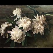 Sarah De St. Prix Wyman Whitman Oil Painting Still Life with Peonies 1902