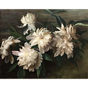 Sarah De St. Prix Wyman Whitman Oil Painting Still Life with Peonies 1902