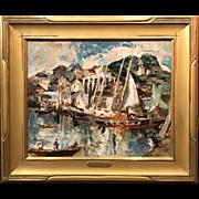 William Meyerowitz Modernist Oil Painting of Gloucester, MA Harbor
