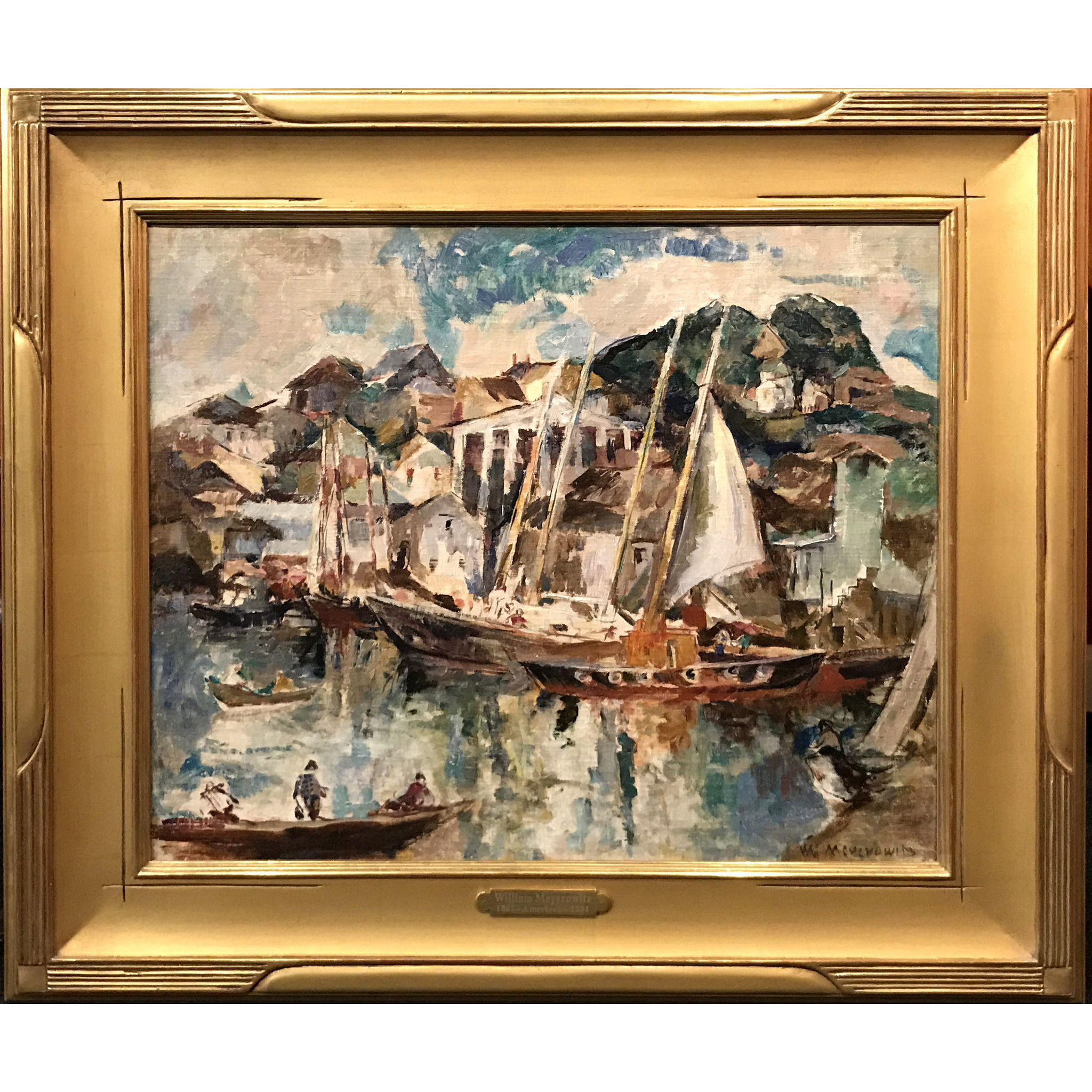 William Meyerowitz Modernist Oil Painting of Gloucester, MA Harbor