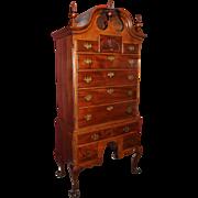 Centennial Philadelphia Chippendale Style Walnut Bonnet Top Highboy