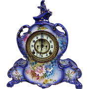 Ansonia Mantle Clock in Royal Bonn La Vendee Polychrome Porcelain Case circa 1900