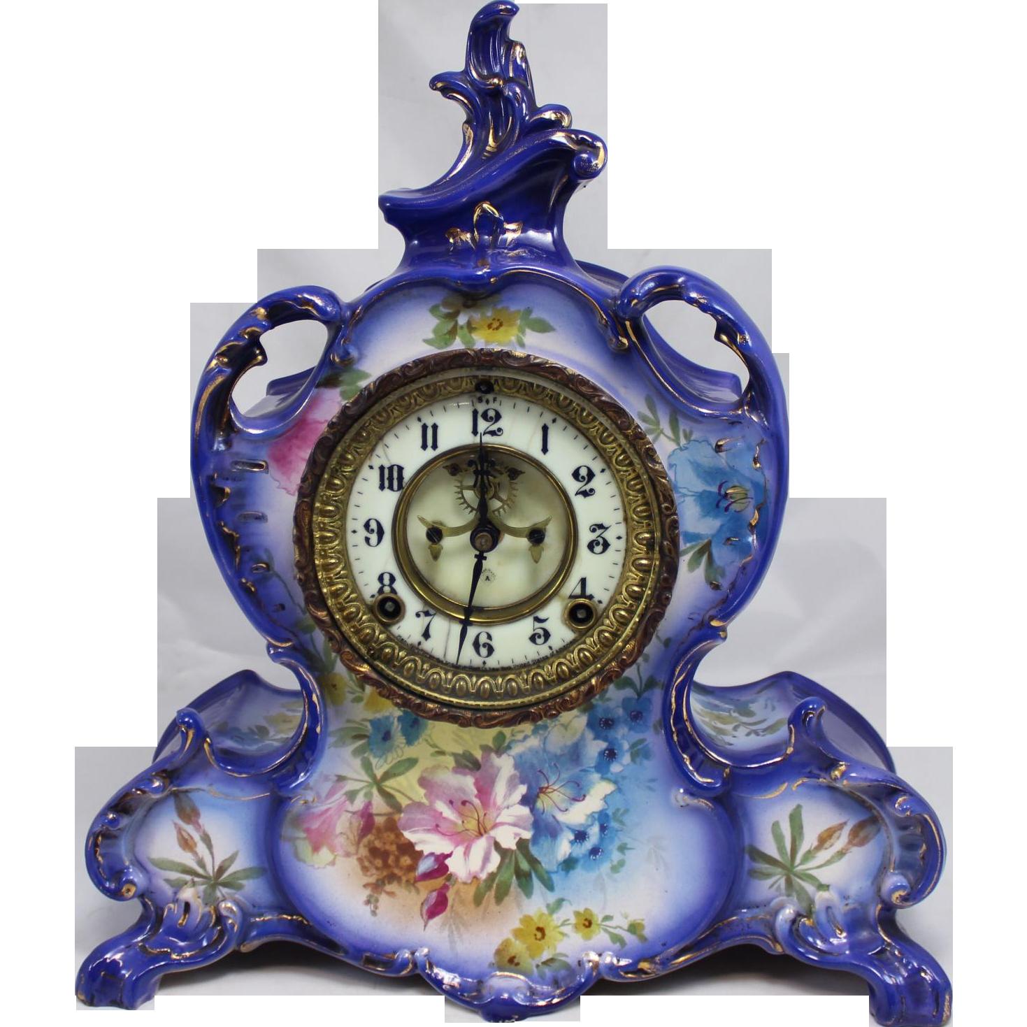 Ansonia Mantle Clock in Royal Bonn La Vendee Polychrome Porcelain Case circa 1900