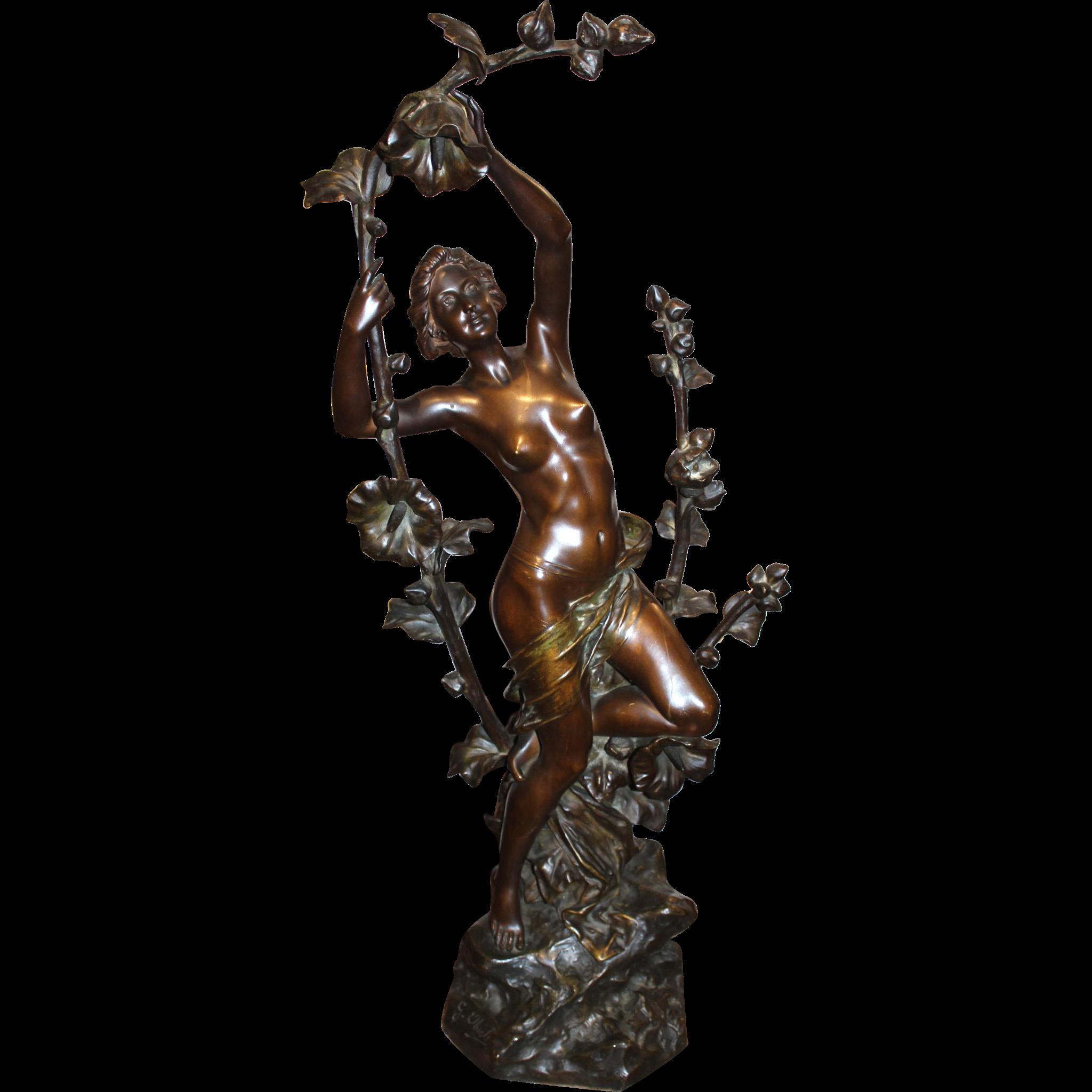 Gustav Obiols Delgado Art Nouveau Nude Bronze of a Woman
