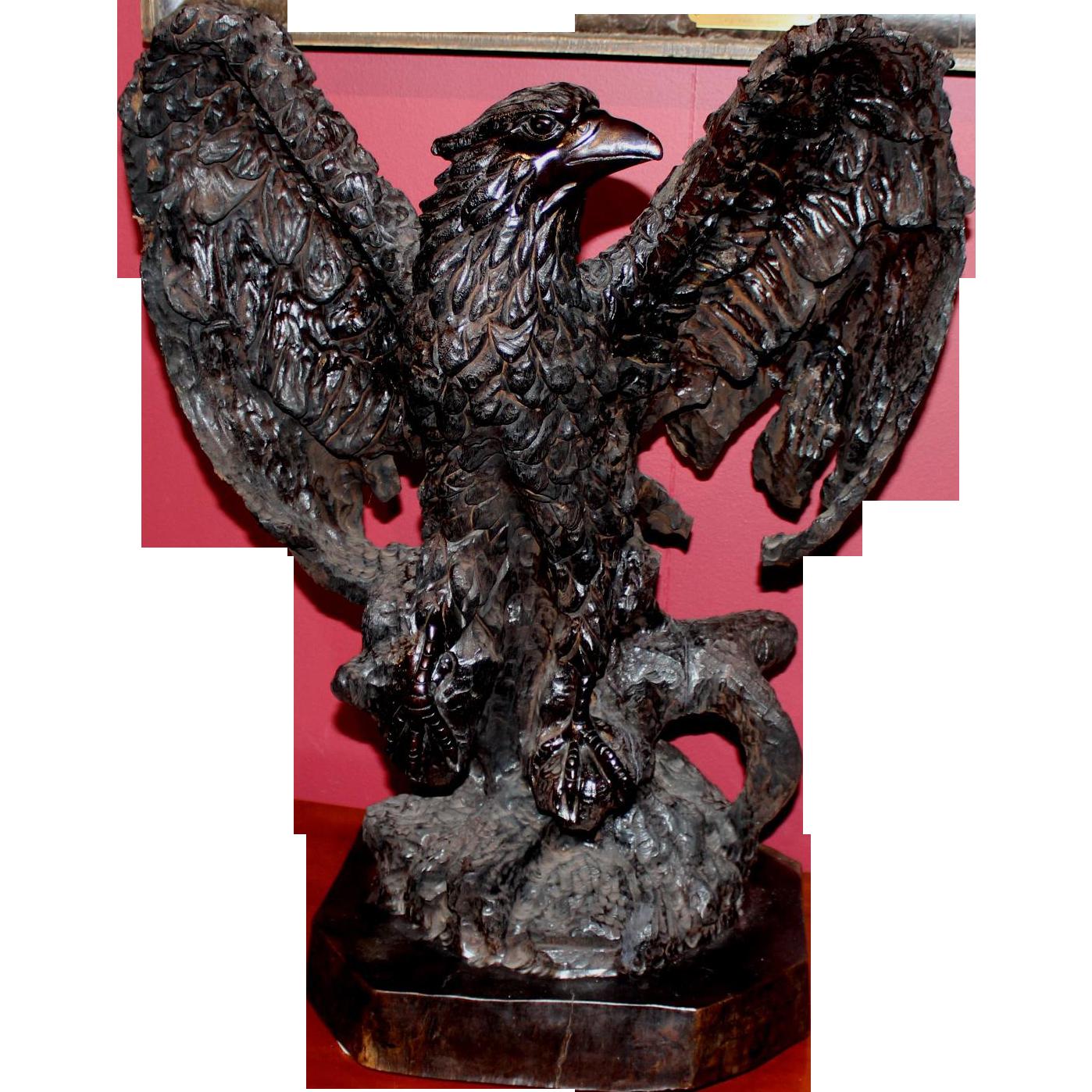19th Century Carved German Black Forest Oak Eagle