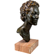 20th c Signed Bronze Bust of a Woman with Stone Base