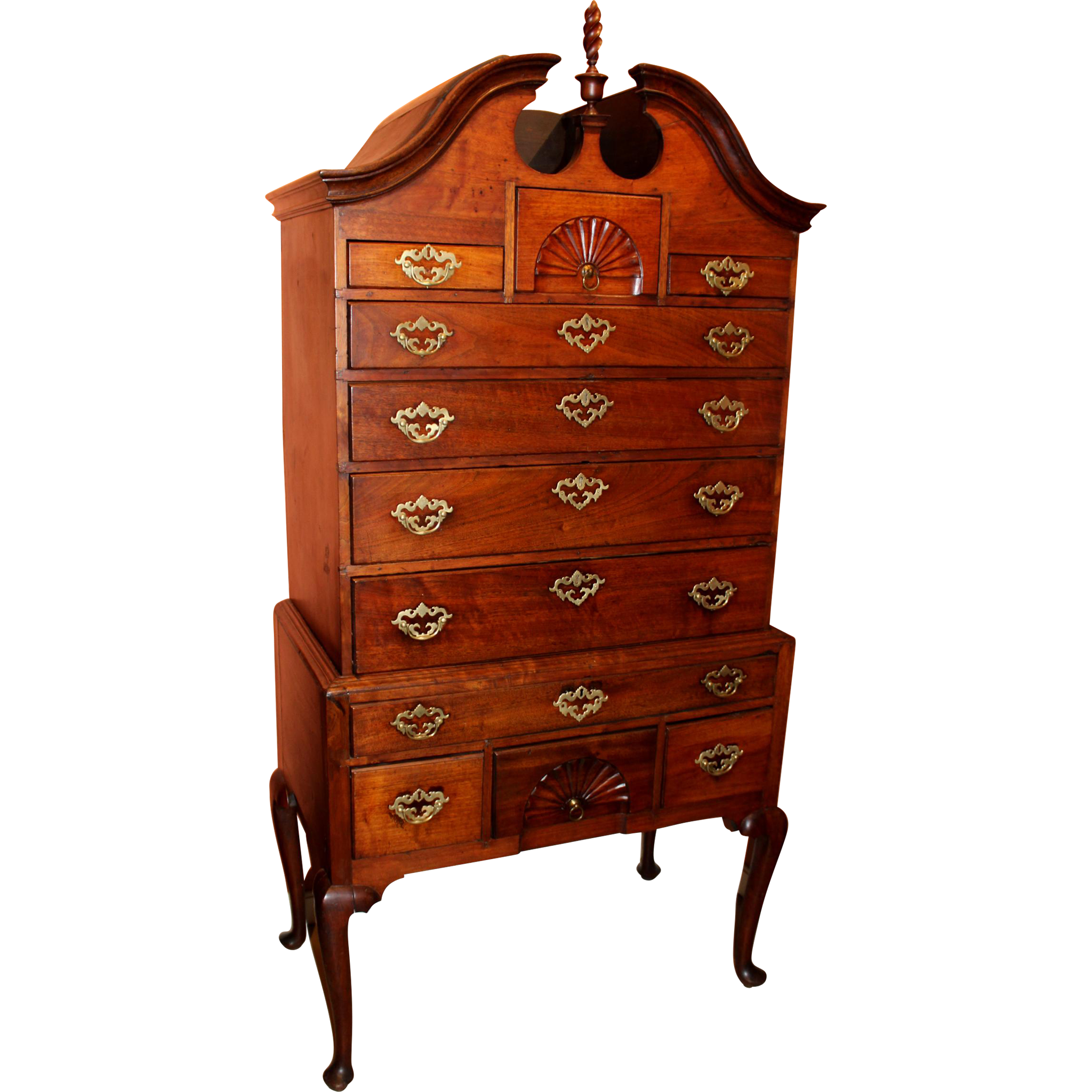18th Century Massachusetts Walnut Bonnet Top Highboy