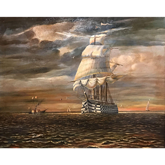 19th c Oil Painting Seascape of a Warship  with Guns
