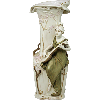 "Royal Dux Art Nouveau Amphora Porcelain Vase ""The Mandoliner"""