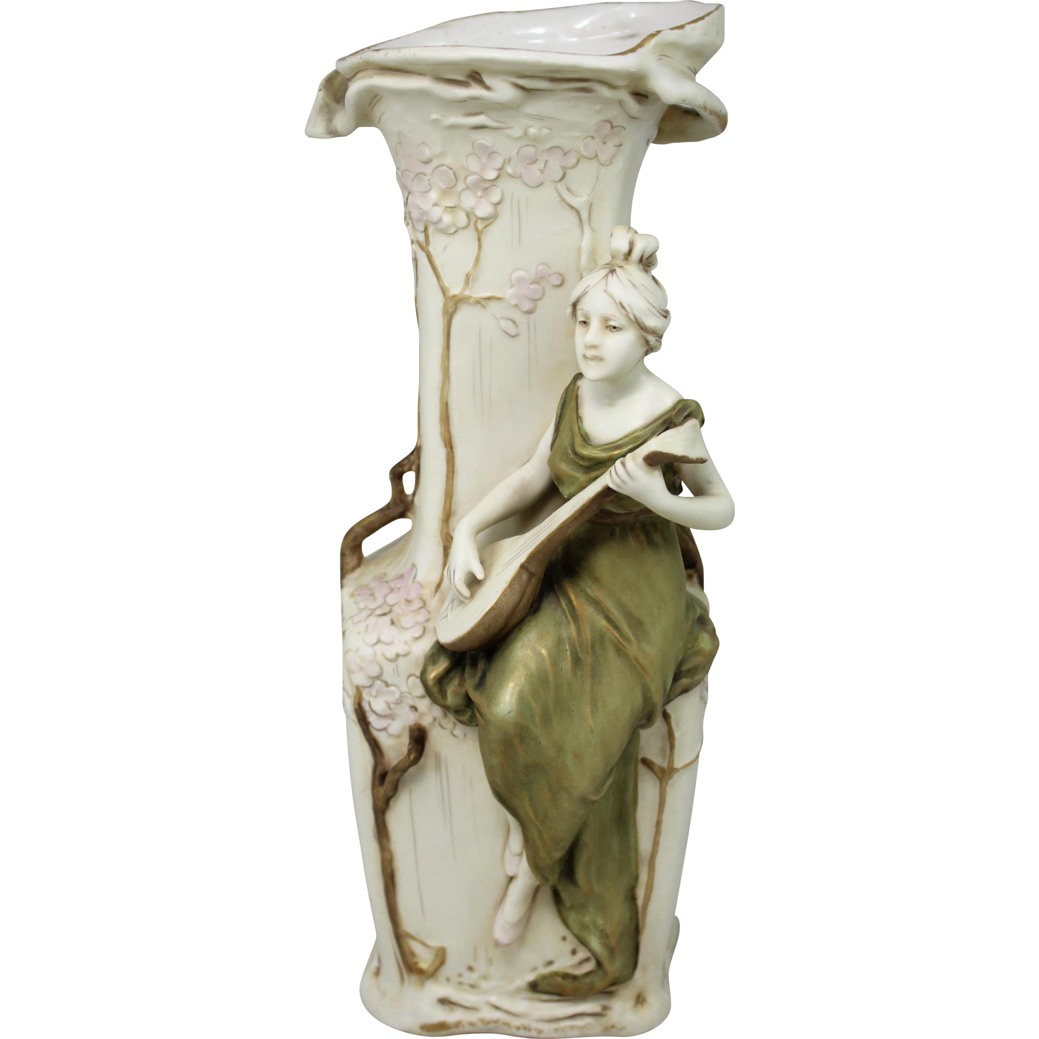"""Royal Dux Art Nouveau Amphora Porcelain Vase """"The Mandoliner"""""""
