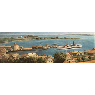 19th c American School Oil Painting of Nantucket, MA  Harbor & Hotel