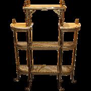Victorian Ornate Brass & Onyx Étagère