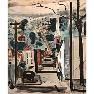 "Edward Herrmann Watercolor Painting ""The Crooked Mile,"" Gallenas, Illinois"