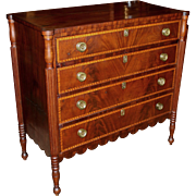 Federal Sheraton Four Drawer Mahogany Chest with Tiger Maple Banding