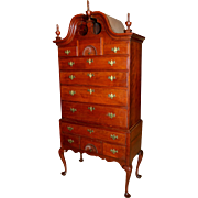 18th Century Queen Anne CT Cherry Bonnet Top Highboy