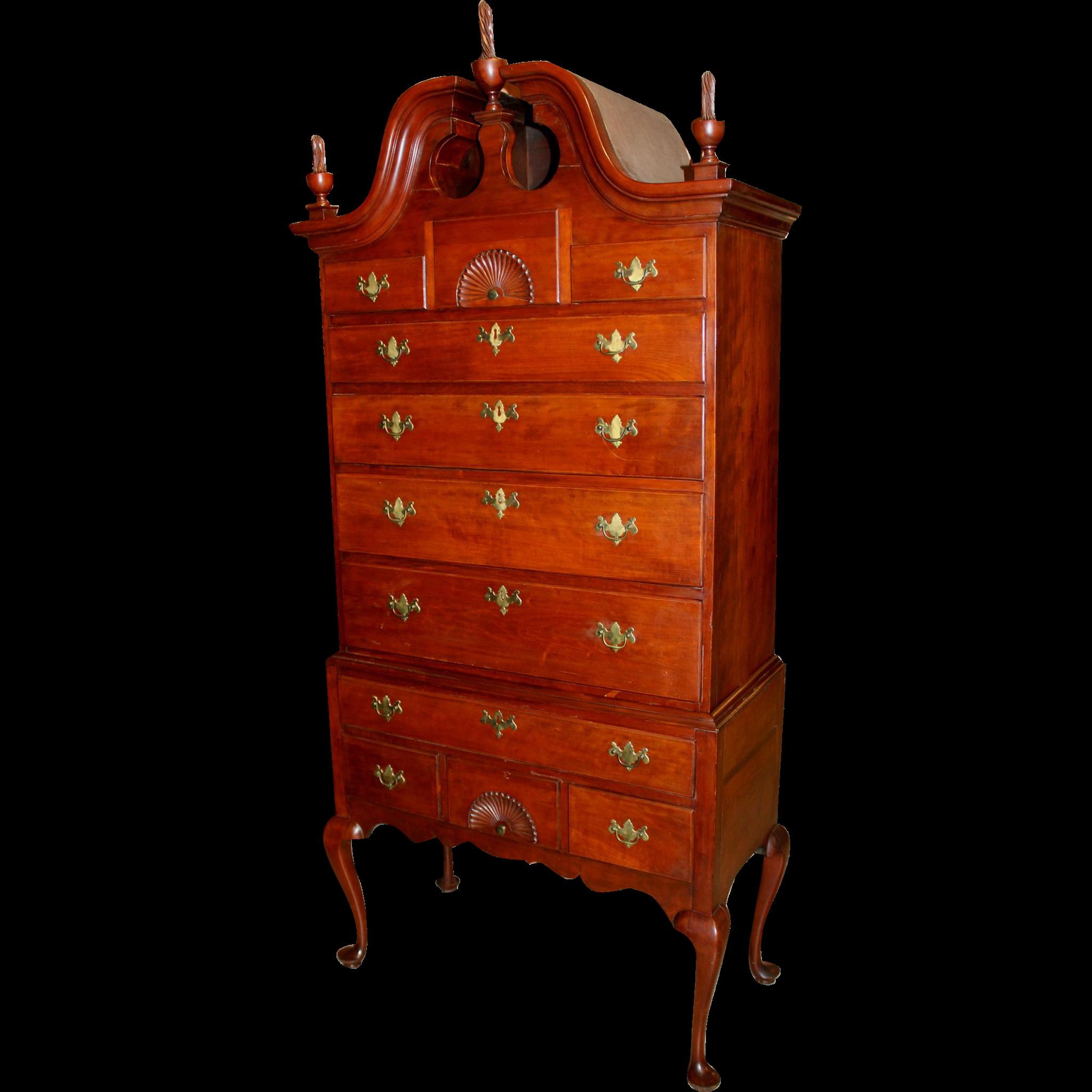 18th Century Queen Anne CT Cherry Bonnet Top Highboy