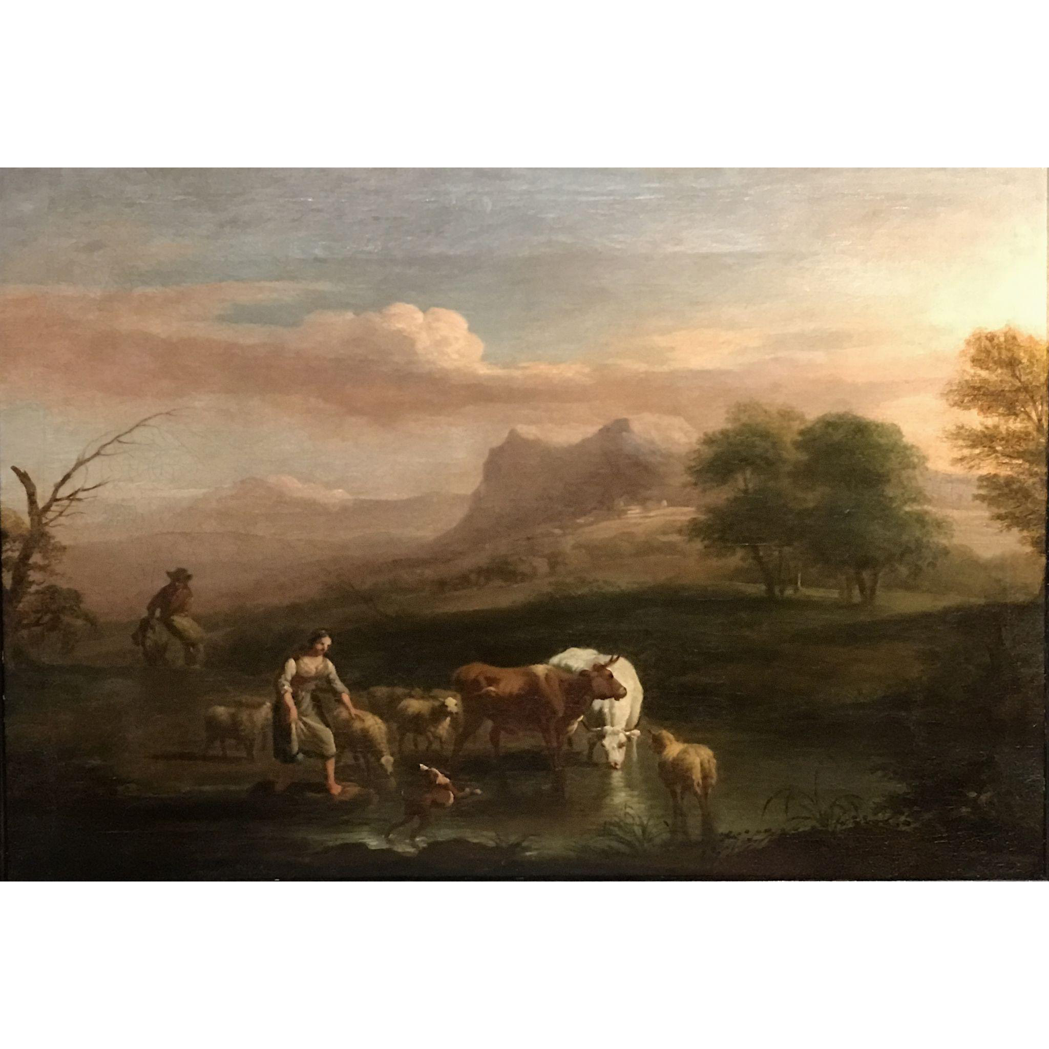 17th Century Dutch Oil Painting Landscape with Animals - School of Paulus Potter