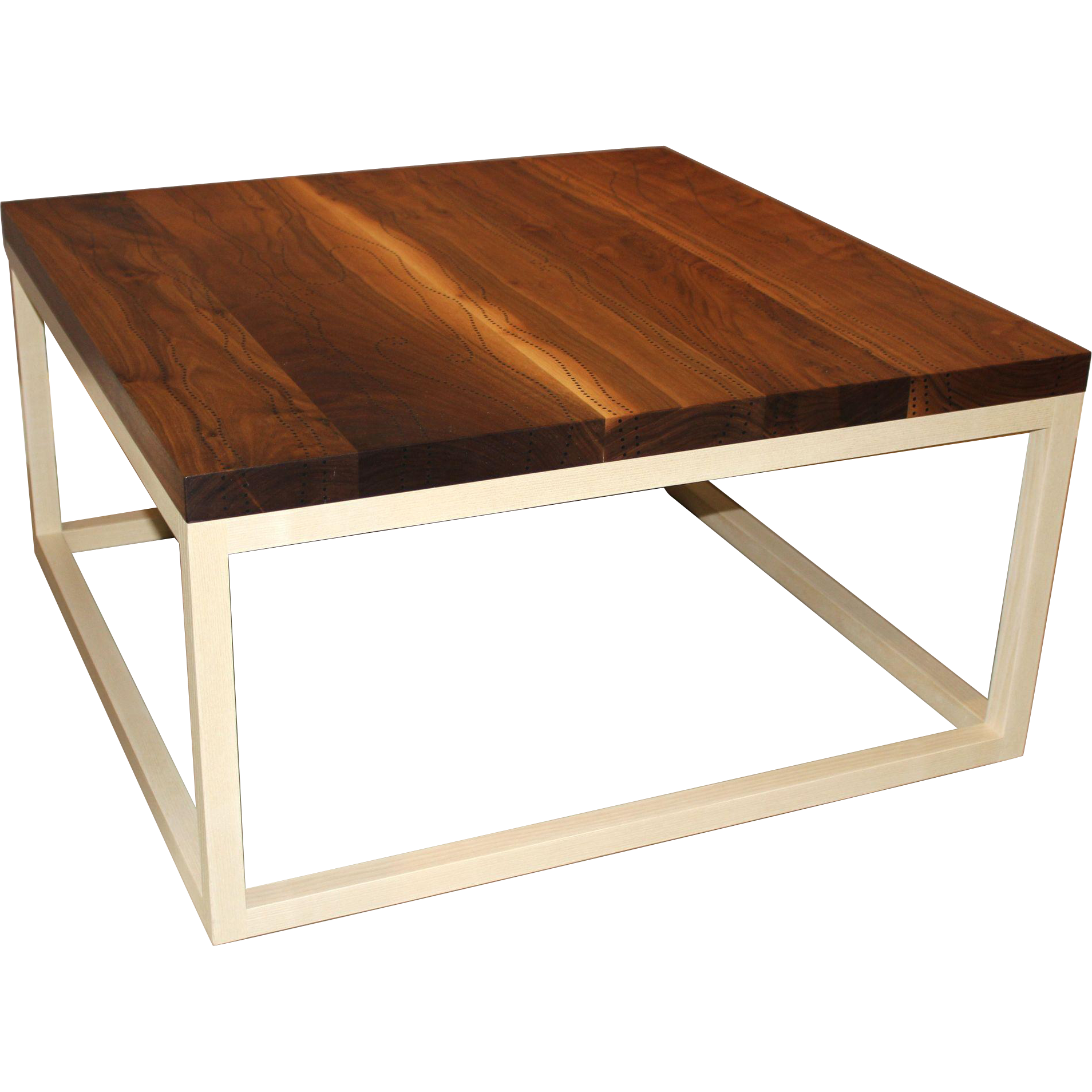 Peter Sandback Modernist Low Square Table in Bleached Walnut and Ash
