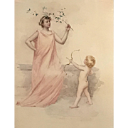 Francis Day Classical Watercolor Painting of Woman & Child