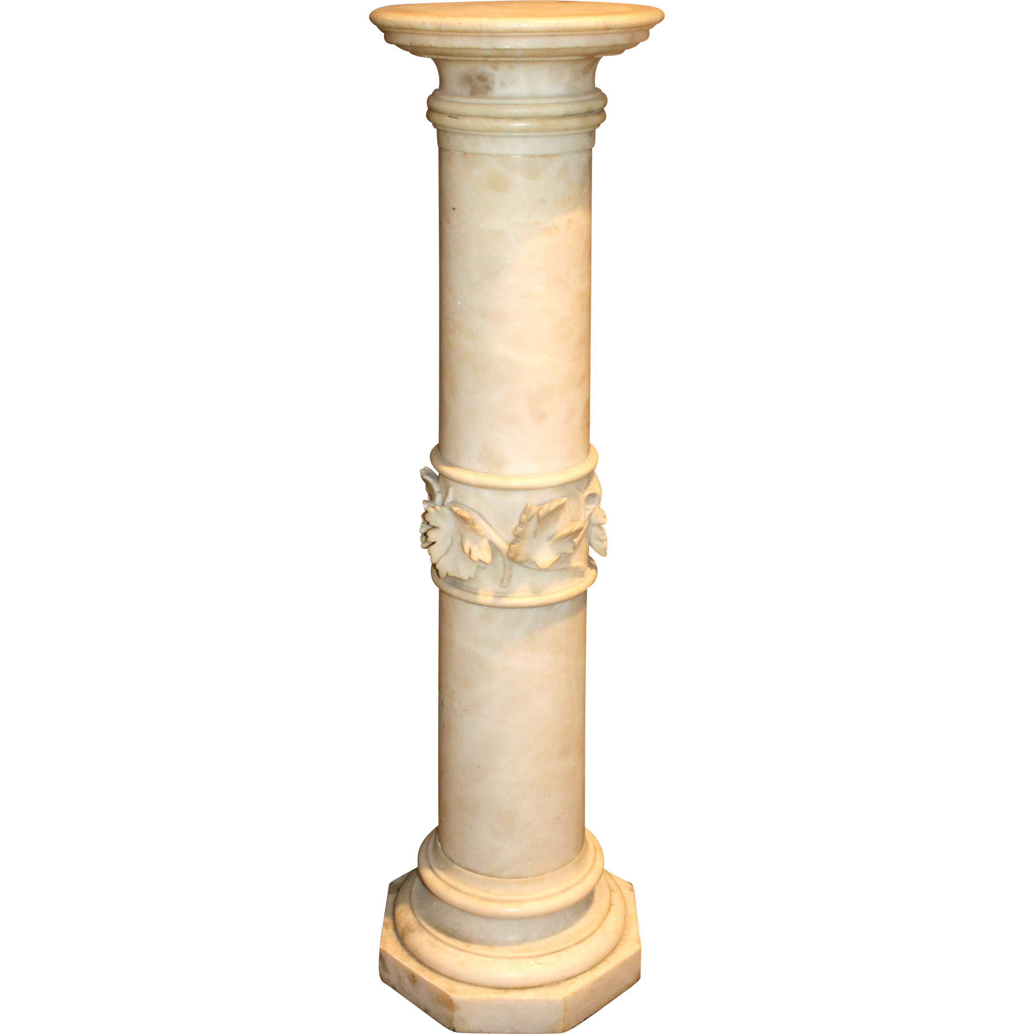 Late 19th Century Carved Alabaster Pedestal with Grape Leaf Decoration