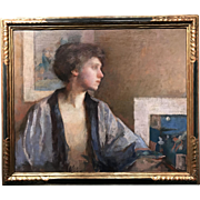 Frederick Andrew Bosley Oil Painting - Blue Kimono, Portrait of Patrice Borgeson