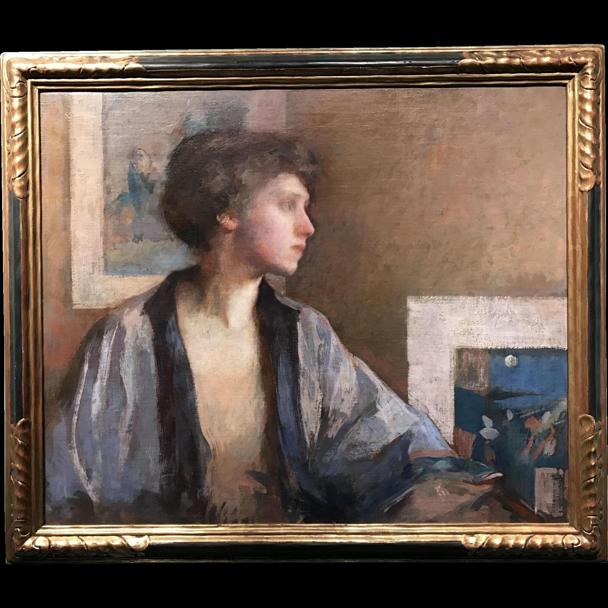 Frederick Andrew Bosley Oil Painting - Blue Kimono, Portrait of Patrice Borgeson