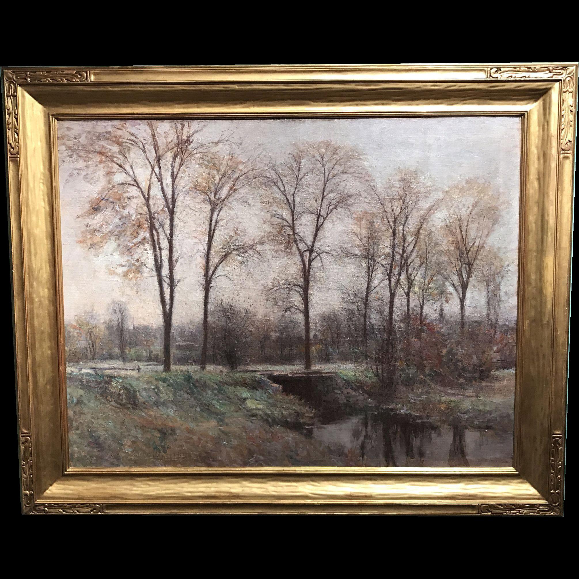 Edward Wilbur Dean Hamilton Oil Painting of The Fens, Boston Massachusetts