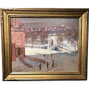 Arthur Merton Hazard Oil Painting View of the State House from Boylston Street, Boston MA