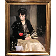 Louise Williams Jackson Oil Painting Portrait of a Woman with Fan and Rose