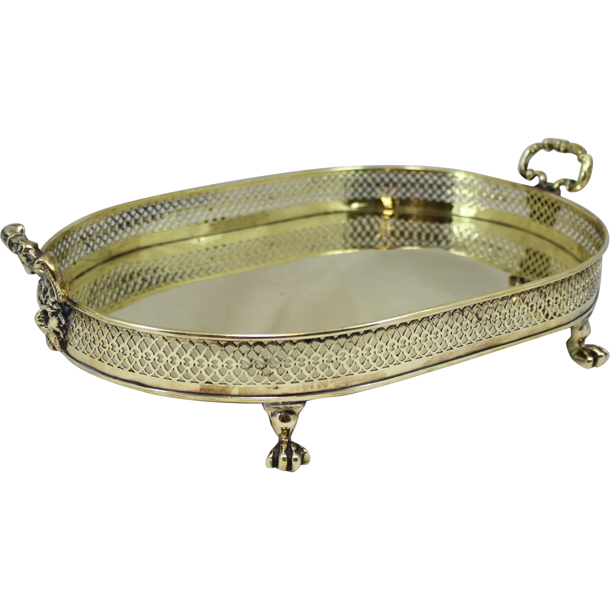 Rare George III Brass Tray with Figural Handles and Pierced Gallery