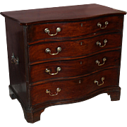 18th Century English Mahogany Serpentine Four Drawer Chest of Superb Proportion