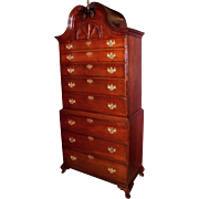 Exceptional Connecticut Chippendale Cherry Bonnet Top Chest on Chest circa 1765
