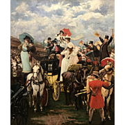 Gustave Wertheimer 19th Century Oil Painting of the Royal Ascot Thoroughbred Horse Race