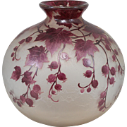 Early 20th c Legras Signed French Cameo Art Glass Vase from the Rubis Line