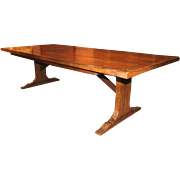 Large Oak Slab Trestle Table