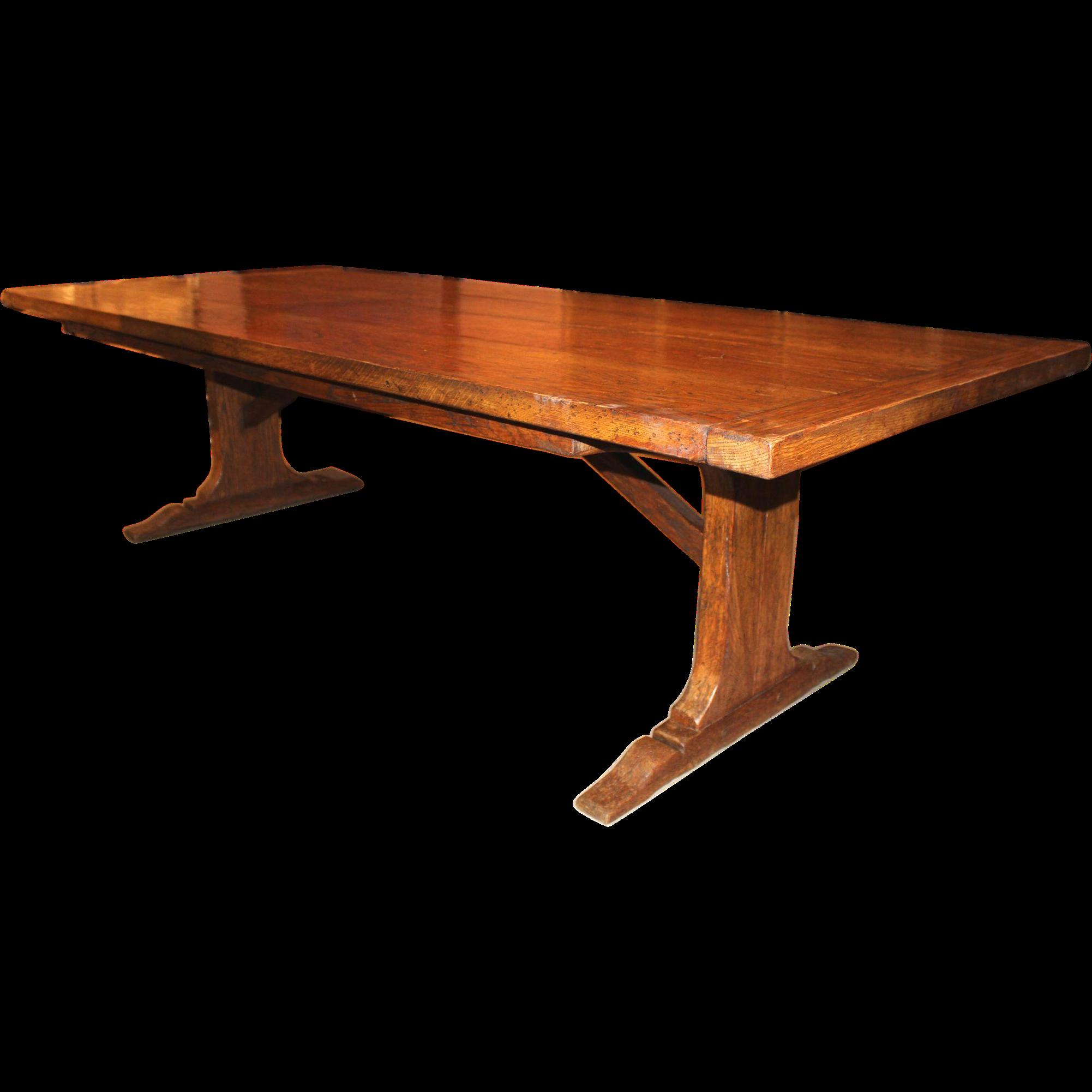 Large Oak Slab Trestle Table
