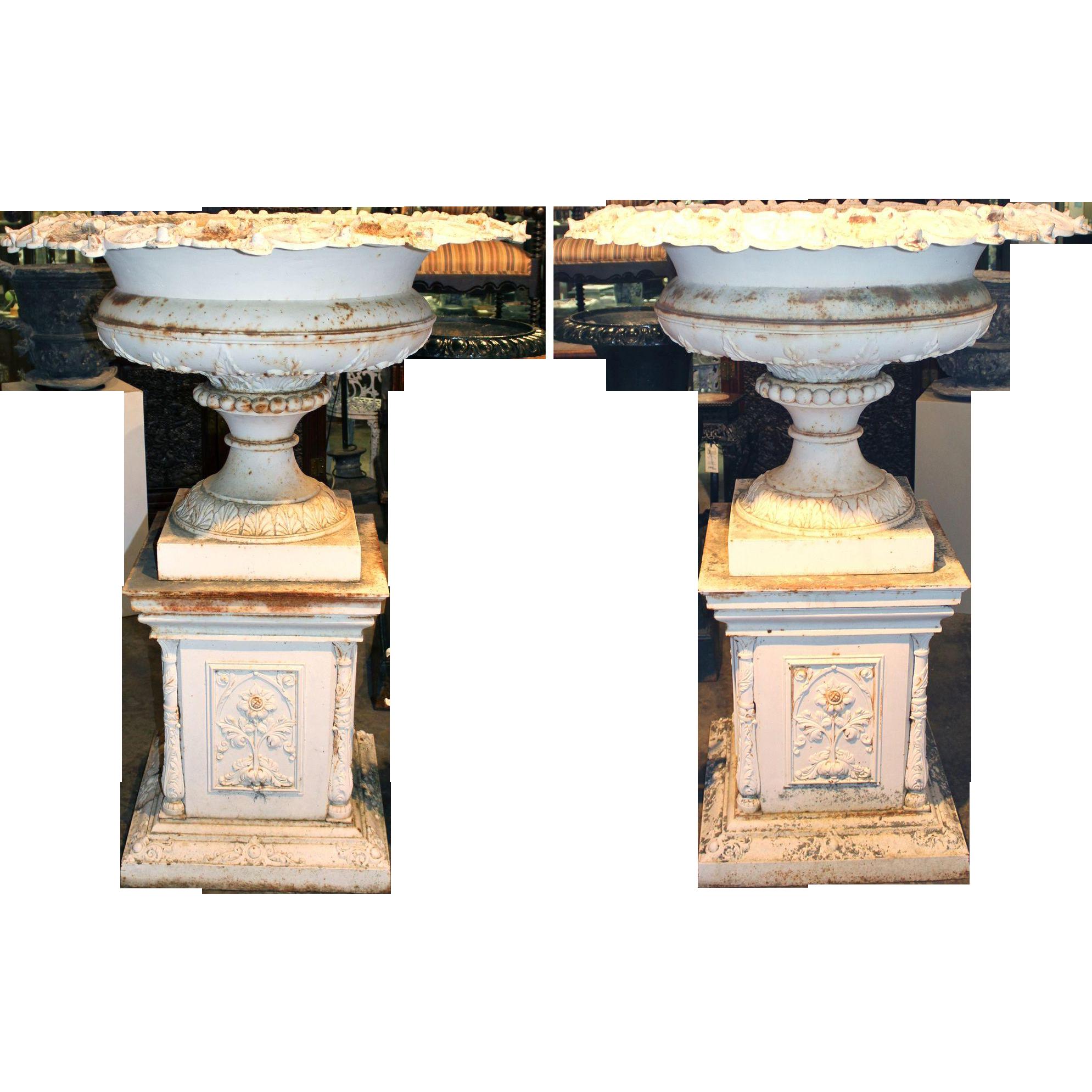Monumental Pair of Victorian Iron Urns on Plinths