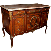 Louis XV Style Kingwood Parquetry Inlaid Commode or Chest with Rouge Marble Top