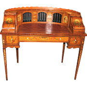 Edwardian Hand Painted Carlton Desk in Satinwood with Leather Insert