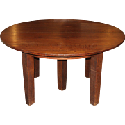 Signed Gustav Stickley Oak Arts & Crafts Dining Table with 3 Leaves circa 1915-1916