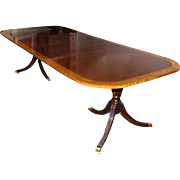 Splendid Double Banded Mahogany and Satinwood Double Pedestal Dining Table